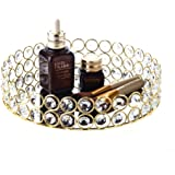 Feyarl Crystal Beads Cosmetic Round Tray Jewelry Organizer Tray Mirrored Decorative Tray (Gold)