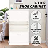 Advwin 36 Pairs Shoe Rack Cabinet,3 Tiers 3 Grids Adjustable Modern Design Shoe Storage Box, with Handle(White)
