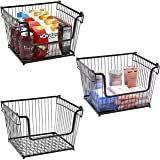 Sorbus Farmhouse Scoop Storage Bin Wire Baskets with Handles, Stackable Basket Set Organizers for Home, Kitchen Pantry, Bathr