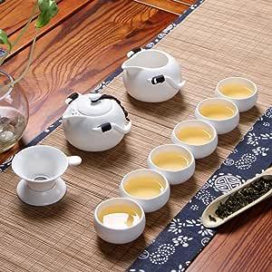 LONGPRO 急須 セット ティーポット 陶磁 茶器 茶器セット お茶出し 和風急須 煎茶碗 ×6客