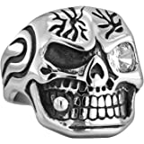 Stainless Steel Skull Cool Ring Hip hop Diamond Silver Bands Jewelry for Men Women