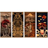 4 Piece Japanese Warrior Canvas Wall Art Print Poster Samurai Painting Wooden Framed Ready to Hang Artwork for Wall Art Livin