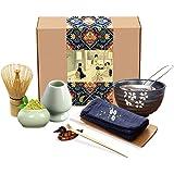 Artcome Japanese Matcha Tea Set, Matcha Whisk, Traditional Scoop, Matcha Bowl, Ceramic Whisk Holder, Matcha Caddy, Handmade M
