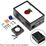 MakerFocus Raspberry Pi 3 Case Protective Case, Raspberry Pi 3.5 inch Display Case, with Mini Cooling Fan Heatsink Kit for Ra