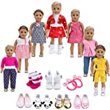 Howona 18 inch Doll Clothes Gift for Girls - Include 7 Set Toys Doll Outfits + 2 Pairs Shoes Accessories fit for American Gir