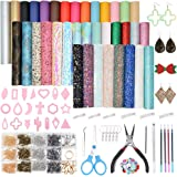 Leather Earring Making Kit, 36pcs 7 Kinds of Faux Leather Sheet and Tools for DIY Leather Earrings Craft Making Supplies with