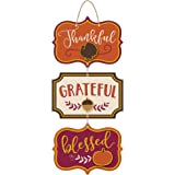 """amscan Thanksgiving""""Thankful""""""""Grateful""""""""Blessed"""" Triple Sign, 8"""" x 8"""", Multicolor, 1 Count"""