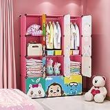 MAGINELS Children Wardrobe Dresser Portable Closet Bedroom Armoire Clothes Hanging Storage Rack Cube Organizer Large Blue Pin