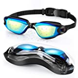 Portzon Swim Goggles, Swimming Goggles for Adult Men Women Youth Kids Child, Silicone Nose Bridge, Clear Vision, Easy-Adjusta