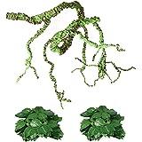Flexible Bend-A-Branch Jungle Vines Plastic Terrarium Plant Leaves Pet Habitat Decor for Lizard,Frogs, Snakes and More Reptil