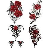 Yesallwas タトゥーシール トライバル 薔薇 赤 黒 4枚セット 長持ち タトゥーステッカー ボディーシール 刺…