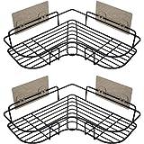 浴室ラック コーナーラック シャンプー調味料収納 防錆素材 2段式 強力粘着固定 15kg荷重 水切り 壁掛け棚 スパイスラック お風呂 洗面所 キッチン 台所収納ラック 多機能