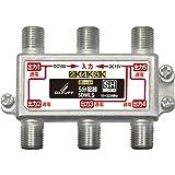 DXアンテナ 分配器 【2K 4K 8K 対応】 5分配 全端子間通電 金メッキプラグ F型端子 ダイカスト製高シールド…