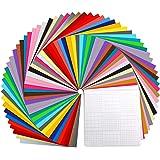 "Vinyl Sheets, Ohuhu 70 Permanent Adhesive Backed Vinyl Sheets Set, 60 Vinyl Sheets 12"" x 12"" + 10 Transfer Tape Sheets, 30 As"