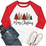LUKYCILD Merry Christmas Shirt Top Women Buffalo Leopard Plaid Christmas Tree Shirt 3/4 Sleeve Splicing Baseball T Shirt Tee