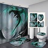 Fashion_Man 16PCS/Set Fantasy Flying Dragon Shower Curtain Polyester Waterproof Bath Curtain Non-Slip Bathroom Rugs Bath Mat
