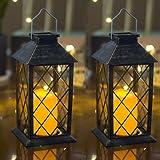 Set of 2 Outdoor Solar Candle Lantern Flickering Flameless LED Candle/Plastic Hanging Lantern Golden Brushed Decorative Lante