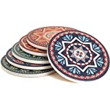 Enkore Absorbent Coasters for Drinks - 6 Pretty Mandala Patterns on Big Ceramic Stones with Cork Back, Use as Elegant Home De