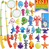 Magnetic Fishing Toys Game Set for Kids by ECLifeHack for Bathtime or Pool Party with Pole Rod Net, Plastic Floating Fish - T