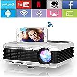 Wifi Movie Projector with Bluetooth, 5000 Lumens Smart Wifi Wireless Projector HD Home Theater with HDMI USB VGA AV Audio, Zo