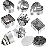 24 Piece Mini Geometric Stainless Steel Biscuit Mold Cookie Biscuit Cutter Set Rectangle Square Heart Triangle Round Tiny Cir