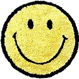 ACCENT チェアパッド 座布団 35cm 【イエロー】ふわふわ 椅子 円形 丸型 かわいいスマイルクッション 洗濯可 オールシーズン対応 国内メーカー