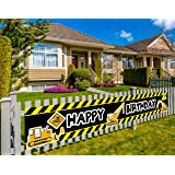 Construction Vehicle Happy Birthday Banner, Baby Boy Toddler Kids Construction Theme Birthday Party Decorations Supplies, Bac