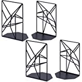 SRIWATANA Geometric Bookends, Metal, Black 2 Pairs, 4.7 x 3.2 x 7in