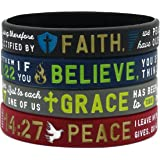 """""""Faith, Believe, Peace, Grace"""" Silicone Bible Bracelets - Christian Religious Jewelry Gifts for Men Women"""