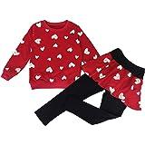 DDSOL Little Girls Clothing Set Outfit Heart Print Sweatshirt Top+Long Pantskirts 2pcs