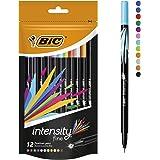 BIC Intensity Fineliner Felt Tip Pen Fine Point (0.8 mm) - Assorted Colours, Pack of 12 Fineliner Pens