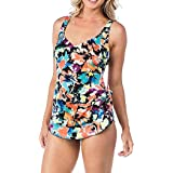 Maxine Of Hollywood Womens MM8PX34 Blossom Spa Wide Strap Sarong One Piece Swimsuit Patterned One Piece Swimsuit