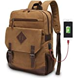 Modoker Vintage Backpack for Men Women, Canvas Bookpack Fits Most 15.6 Inches Computer and Tablets
