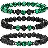 MengPa Beads Stretch Bracelets for Men Women Matte Natural Lava Rock Volcanic Stone Bracelet