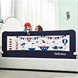 59 Inches Toddler Bed Rail Fold Down Safety Baby Bed Guard with NBR Foam Including 1 Pc Safety Strap by KOOLDOO (Blue)