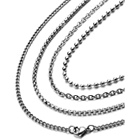 [Freate] ステンレス製ネックレスチェーン4本セット メンズ あずき、喜平、ベネチアン、ボール (幅2ミリ, 50…