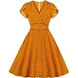 Wellwits Women's Polka Dots Hearts V Neck Wrap Vintage Dress with Pocket