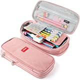 iSuperb Foldable Pencil Case Zipper Big Capacity Canvas Pencil Pouch Stationery Organizers Pen Bag Compartments Cosmetic Make