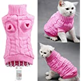 Bolbove Bro'Bear Cable Knit Turtleneck Sweater for Small Dogs & Cats Knitwear (Pink, Large)