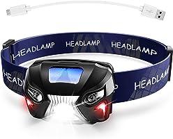 【充電式ヘッドライト】 LEDヘッドランプ 小型軽量 センサー機能 防水 登山/キャンプ/サイクリング/ハイキング/防災/夜釣り/非常時用