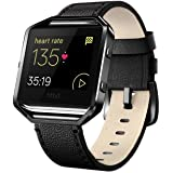 """Andyou for Fitbit Blaze Bands Leather with Frame Small Large (5""""-8.2""""), Genuine Leather Replacement Band with Silver/Rose Gol"""