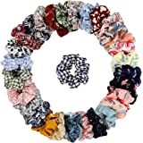 30 Pcs Chiffon Hair Bands Ponytail Ties Hair Scrunchies Flower Hair Scrunchies Girl Hair Accessory, Great for Casual and Part