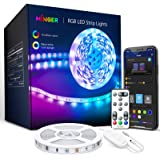 MINGER LED Strip Lights Bluetooth, 16.4ft Music Sync LED Lights with App Phone, Remote, Control Box, RGB Color Changing Light