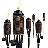Brown Weave Bamboo Torches; Decorative Torches; Fiberglass Wicks; Extra-Large (16oz) Metal Canisters for Longer Lasting Burn;