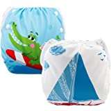 ALVABABY 2pcs Swim Diapers Reuseable Adjustable One Size for Baby Gifts & Swimming Lessons ((Blue & Alligator, 0-2 Years) DYK