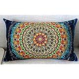 Cotton Linen Home Office Decorative Throw Waist Lumbar Pillow Case Cushion Cover Beautiful Bohemian Flower Boho Geometric Flo