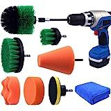 Multipurpose Drill Brush Scrubber Cleaning Set for Car Wheels, Car Seats, Car Carpet Medium Stiff Brushes, Car Wave Polishing