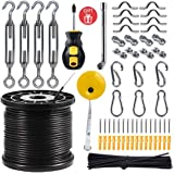 String Light Hanging Kit with 164 Ft Nylon Coated Stainless Steel 304 Wire Rope, String Lights Suspension Kit Included Enough