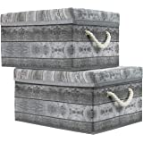 Sorbus Storage Box Set with Lid, Carry Handles, Foldable Frame, Rustic Wood Grain Print Bins, Great for Toys, Memorabilia, Cl