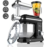 Ausbuy Stand Mixer, 1100W 4.5L 6-Speed Tilt-Head Food Mixer, Kitchen Electric Mixer with Dough Hook, Wire Whip & Beater (Blac